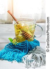 Healthy tea with honey