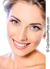 healthy teeth - Beautiful female face with pure skin and...