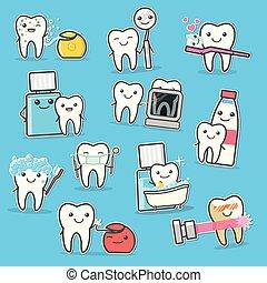 Healthy Teeth care treatment and hygiene. Cartoon vector illustration