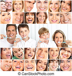 Healthy teeth - Happy family. Father, mother and children ...