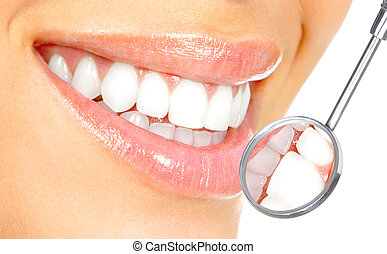 healthy teeth - Healthy woman teeth and a dentist mouth ...
