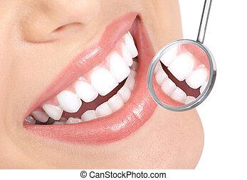 healthy teeth - Healthy woman teeth and a dentist mouth...