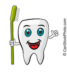 Healthy Teeth - Illustration of happy and healthy tooth with...