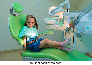 Healthy teeth patient girl waiting in dental chair in dentist office