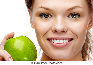 Healthy teeth - Portrait of pretty woman with smile holding...