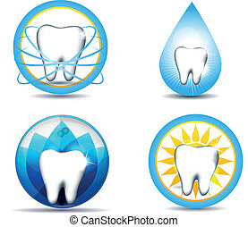 teeth - Healthy teeth symbols, various designs. Beautiful ...