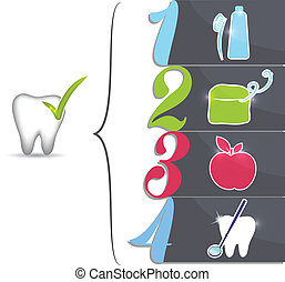 Healthy teeth tips, symbols. Brush daily, floss daily, eat healthy food, regular dental visits