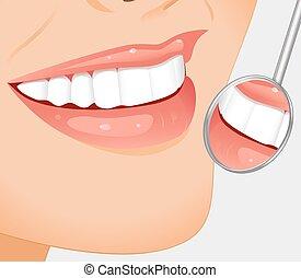 Healthy teeth - Young smiling woman having her teeth...