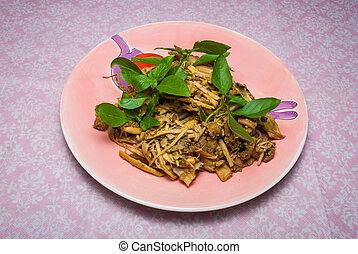 Healthy Thai salad with bamboo shoots and herb/ Yam no mai sai nam pu