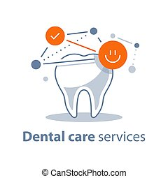 Healthy tooth, dental care, stomatology services, protection concept