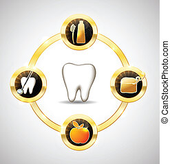Healthy tooth illustration. Healthy teeth care advices. Brushing, flossing, healthy food and dental visits. Luxury dental care