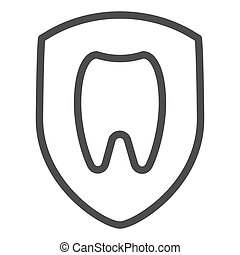 Healthy tooth line icon. Dental vector illustration isolated on white. Tooth in shield outline style design, designed for web and app. Eps 10.