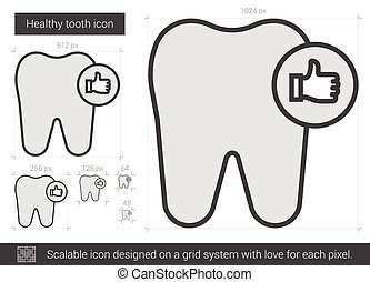 Healthy tooth line icon. - Healthy tooth vector line icon ...