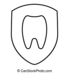 Healthy tooth thin line icon. Dental vector illustration isolated on white. Tooth in shield outline style design, designed for web and app. Eps 10.