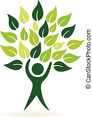 Healthy tree nature leaf man vector icon