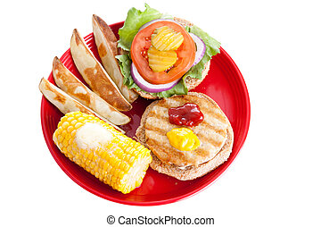 Healthy Turkey Burger Meal with Path