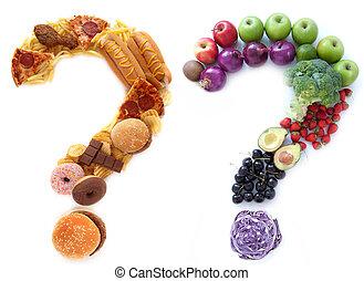 Healthy unhealthy food choices