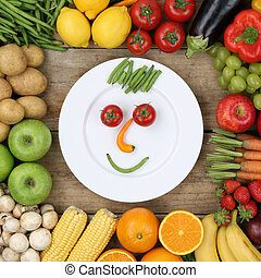Healthy vegan eating smiling face from vegetables