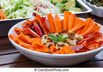 vegetarian and vegan food on white tray