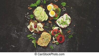 Healthy vegan sandwiches made from homemade buckwheat bread ...