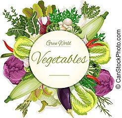 Healthy vegan vegetable food banner - Natural vegetable...