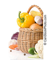 healthy vegetable food and basket isolated on white ...