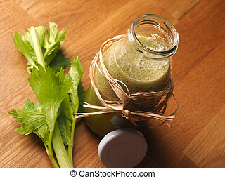 Healthy vegetable fruit smoothie from organic ingredients