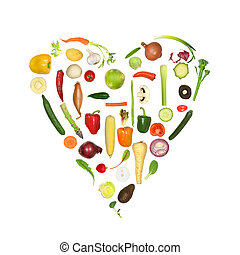 Heart shape of fresh vegetables, symbolizing a healthy heart, over white background.