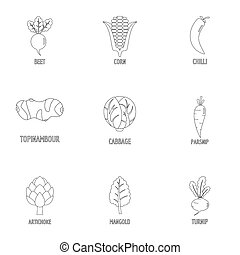 Healthy vegetable icons set, outline style