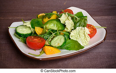 Healthy vegetable salad on a plate