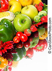 Healthy vegetables and fruits on white background - Healthy...