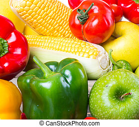 Healthy vegetables and fruits on white background - Healthy ...
