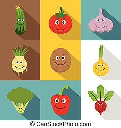 Healthy vegetables icons set, flat style