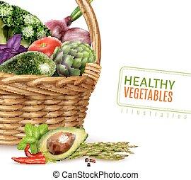 Healthy Vegetables In Basket - Healthy vegetables in basket...