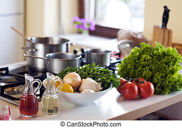 kitchen - healthy vegetables in the kitchen close up shoot