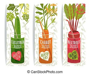 Healthy Vegetables Juices Design Collection on White with Signs and Stamps