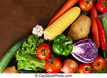 Healthy Vegetables on a Wooden Table