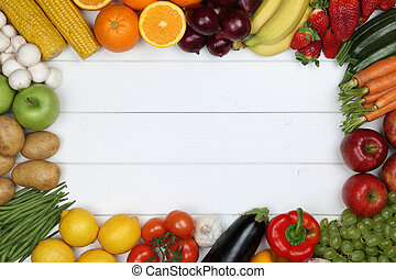 Healthy vegetarian eating frame from vegetables and fruits with