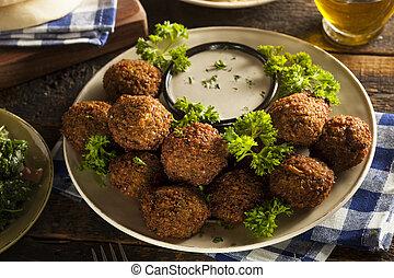 Healthy Vegetarian Falafel Balls with Rice and Salad