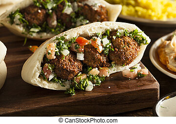 Healthy Vegetarian Falafel Pita with Rice and Salad