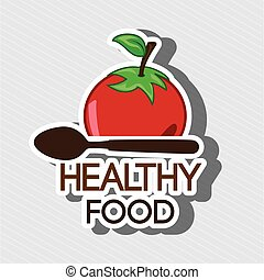 healthy vegetarian food label isolated icon design