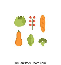 Healthy vegetarian food set, pumpkin, zucchini, cabbage, tomatoes and loaf vector Illustrations on a white background
