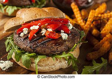 Healthy Vegetarian Portobello Mushroom Burger with Cheese and Veggies