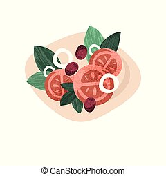 Healthy vegetarian salad with fresh vegetables. Cooking theme. Flat vector illustration with texture
