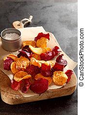 Healthy vegetarian snack of beetroot chips