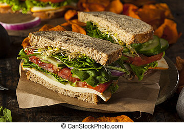 Healthy Vegetarian Veggie Sandwich with Spinach Tomato...