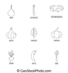 Healthy vegetarianism icons set, outline style