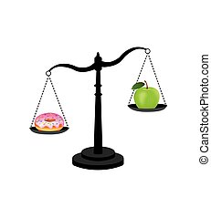 Healthy versus unhealthy food. vector illustration