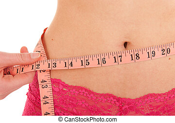 Healthy waist with measuring tape