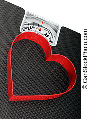 Healthy Weight - Bathroom Scales With A Red Heart Shaped...